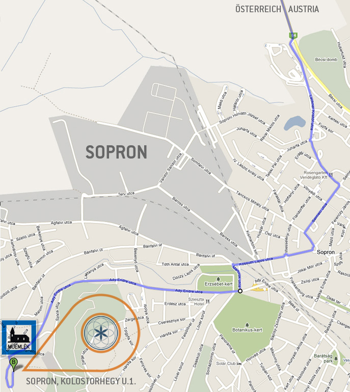 Navigation within Sopron from the direction of Wien